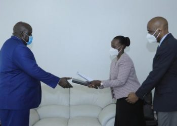 Minister of State for International Cooperation, Henry Oryem Okello received credentials from the Honorary Consul of the State of Israel, Ms. Ishta Asiimwe Kutesa Muganga at the Ministry of Foreign Affairs (PHOTO/Courtesy)