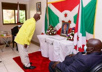 Museveni pays last respect to fallen Burundi president Pierre Nkururnzinza at Burundi Embassy in Uganda (PHOTO/PPU)