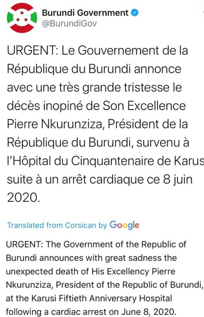 Burundi's President Pierre Nkurunziza Dies At 55 Due To Cardiac Arrest, While His Wife Suffers Covid-19. 1