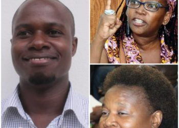 PhD student Yusuf Sserunkuma (L), Dr. Stella Nyanzi (topR) and Margaret Etuusa (bottomR) will all be laughing to the bank as the university makes itself a legal laughing stock (PHOTO/File).