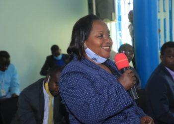 Busoga United FC Chairperson Diana Nyago during the meeting on Thursday. (PHOTO/Courtesy)