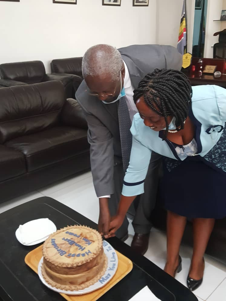 Chief Justice Bart Katureebe has surprised and visibly moved by an impromptu birthday party organized by his staff at the Supreme Court on Friday afternoon, where he was presented with a birthday cake in his office (PHOTO/PML Daily)