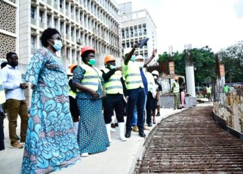 Speaker, Rebecca Kadaga (left), the Leader of the Opposition, Hon. Beatrice Aol (2nd left) being taken on a tour of the new Parliament Building by ROKO personnel on Friday (PHOTO/Courtesy).