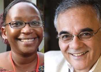 Makerere University Institute of Social Research (MISR) Dr Stella Nyanzi (L), and the institute's executive director Prof Mahmood Mamdani (PHOTO/File)