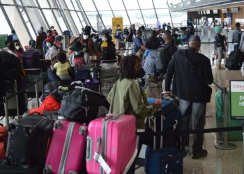 Some of Ugandans who were stranded in the US due to Covid-19 lockdown arrive at Airport in Washington on Friday (PHOTO/Courtesy).