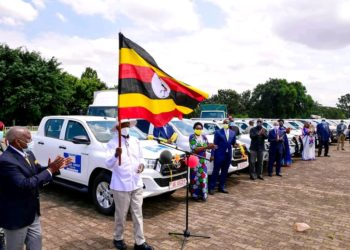 President Museveni flagging off donated Covid-19 vehicles at Kololo grounds (PHOTO/PPU).
