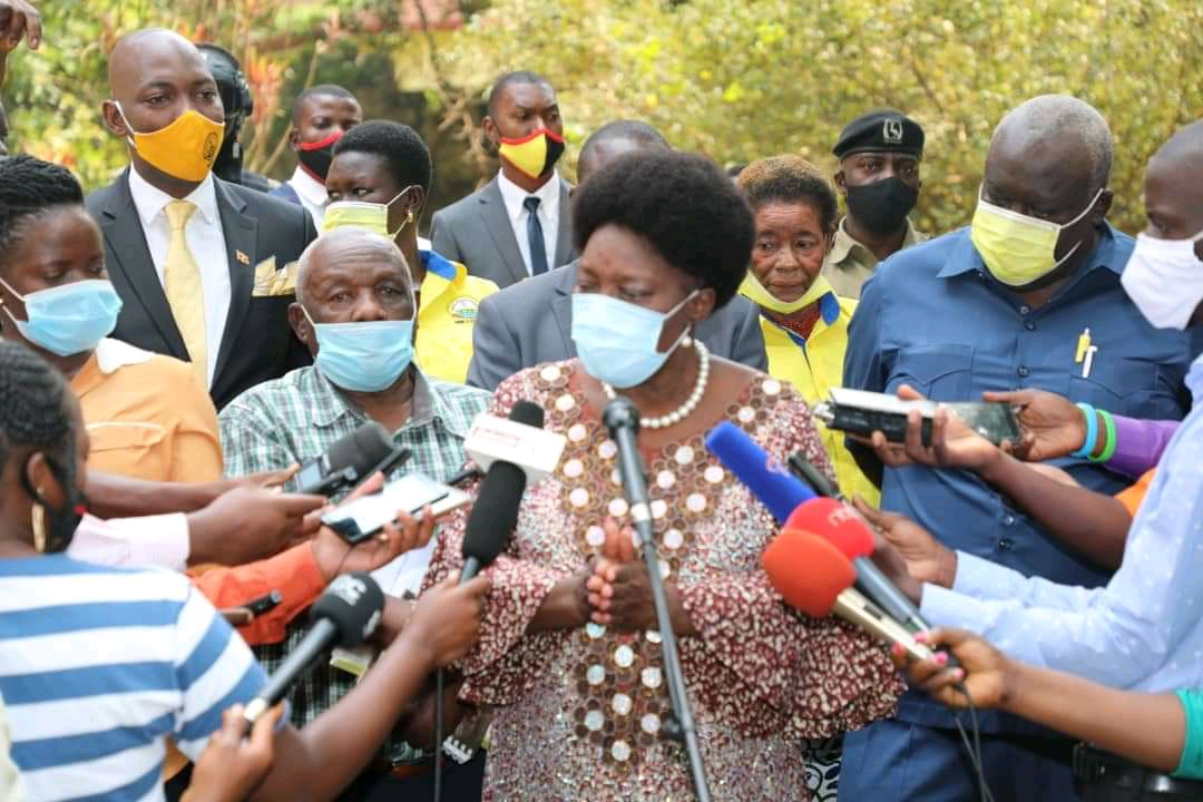 Speaker Rebecca Kadaga speaking to media after picking nomination forms on Tuesday (PHOTO/Courtsey).