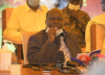 NRM Electoral Commission chairperson, Dr.Tanga Odoi speaking to media (PHOTO/File).