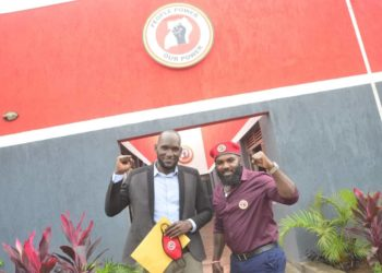 Lubega Shaban (L) with Eddie Mutwe (R) at People Power's head offices in Kamwokya in the capital (PHOTO/Courtesy)