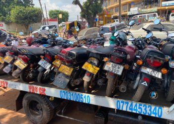 Some of the impounded motorcycles