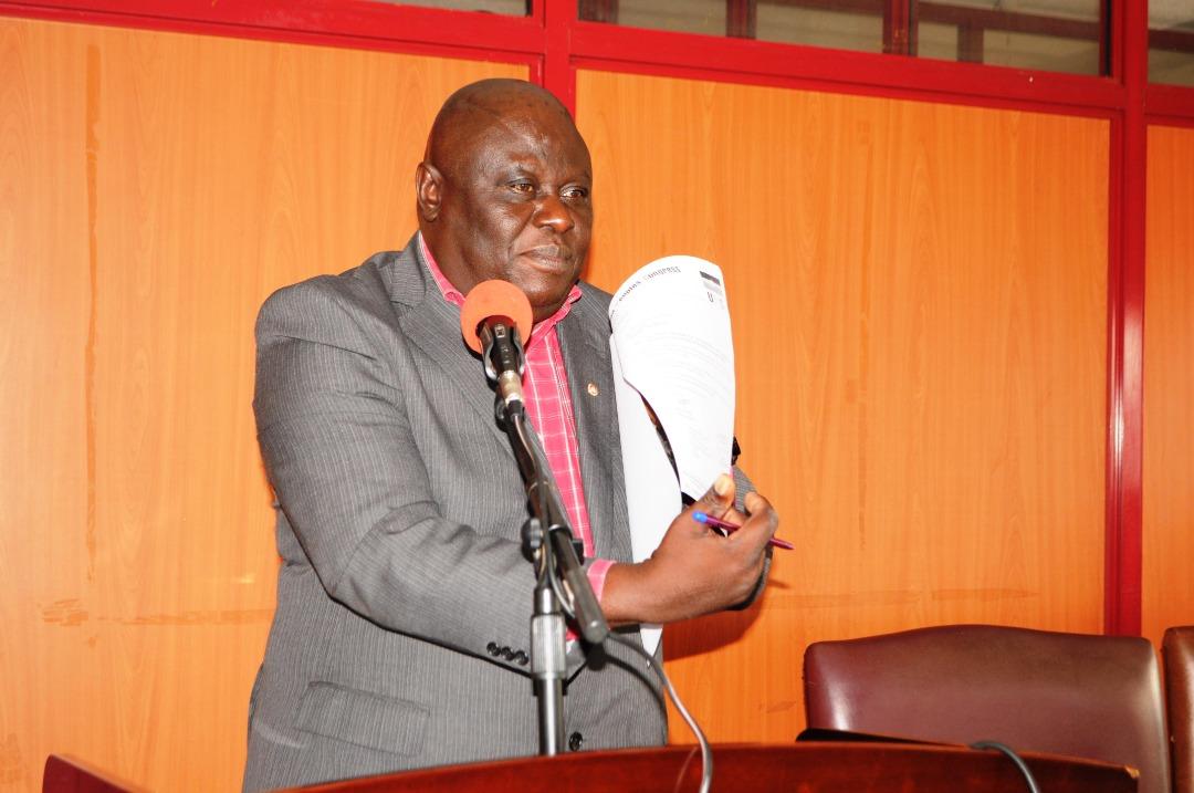 Michael Osinde UPC's Spokesperson addressing the press at Uganda house in Kampala