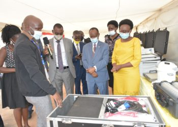 The Minister of Health Jane Ruth Aceng commissioned the mobile laboratories, 4 vehicles, laboratory test kits and other consumables donated by EAC Secretariat (PHOTO/Courtesy).