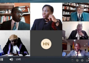 The Principal Judge Monica Mugenyi presides over the court proceedings via video conferencing (PHOTO/Courtesy).