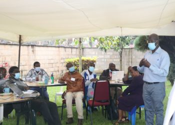 Prof Nelson Sewankambo leads research assistants in a training for the oncoming study (PHOTO/Courtesy)