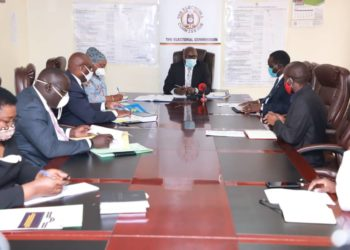 The Chairman of National Broadcasters Association (NAB) Kin Kariisa and the executive have today met with the EC Chairman Justice Simon Mugenyi Byabakama and the Commissioners at the EC headquarters (PHOTO/Courtesy)
