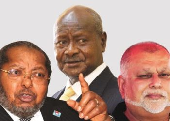 Bank of Uganda Governor Tumusiime Mutebile, (L), President Yoweri Museveni (M) and tycoon Sudhir Ruparelia (PHOTO/File)