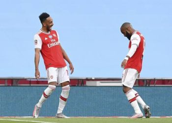 Pierre Emerick Aubameyang (L) celebrates with Alexander Lacazatte (R) after scoring the opener in Arsenal's 2-0 FA Cup semi final victory over Man City on Saturday. (PHOTOS/Courtesy)