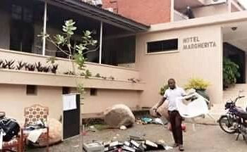 Margarita Hotel in Kasese gutted fire on Tuesday (PHOTO/Courtesy).