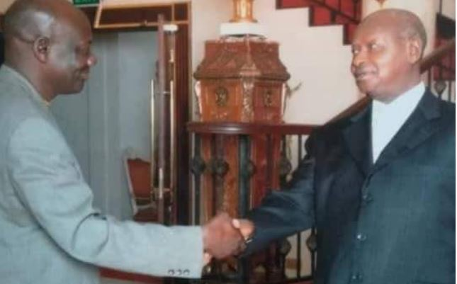 In the photo with the President Museveni, Dodovico Mwanje is believed to be the investor behind the putting down of St. Peter's Church of Uganda in Ndeeba
