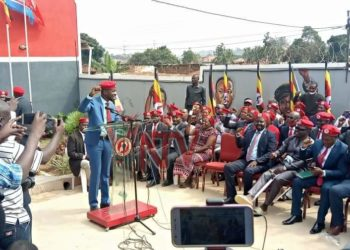 National Unity Platform party president, Robert Kyagulanyi addressing press at party headquarters in Kamokya as he welcomes newcomers on Monday (PHOTO/NTV Uganda).