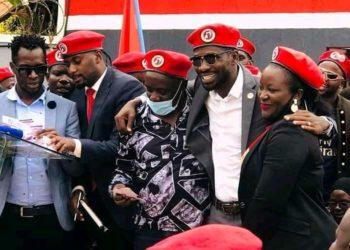 Bobi Wine with Geoffrey Lutaya and wife (PHOTO/Courtesy).