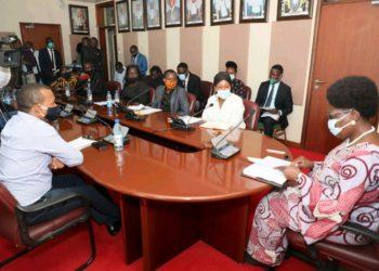 Speaker Rebecca Kadaga in a meeting with artistes on Tuesday (PHOTO/Courtesy).