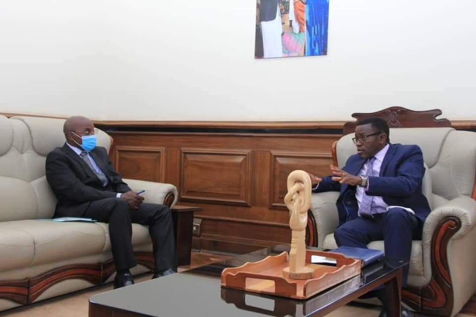 Principal Judge, Dr. Flavian Zeija and Katikiiro Charles Peter Mayiga respectively in a meeting on Tuesday (PHOTO/Courtesy).