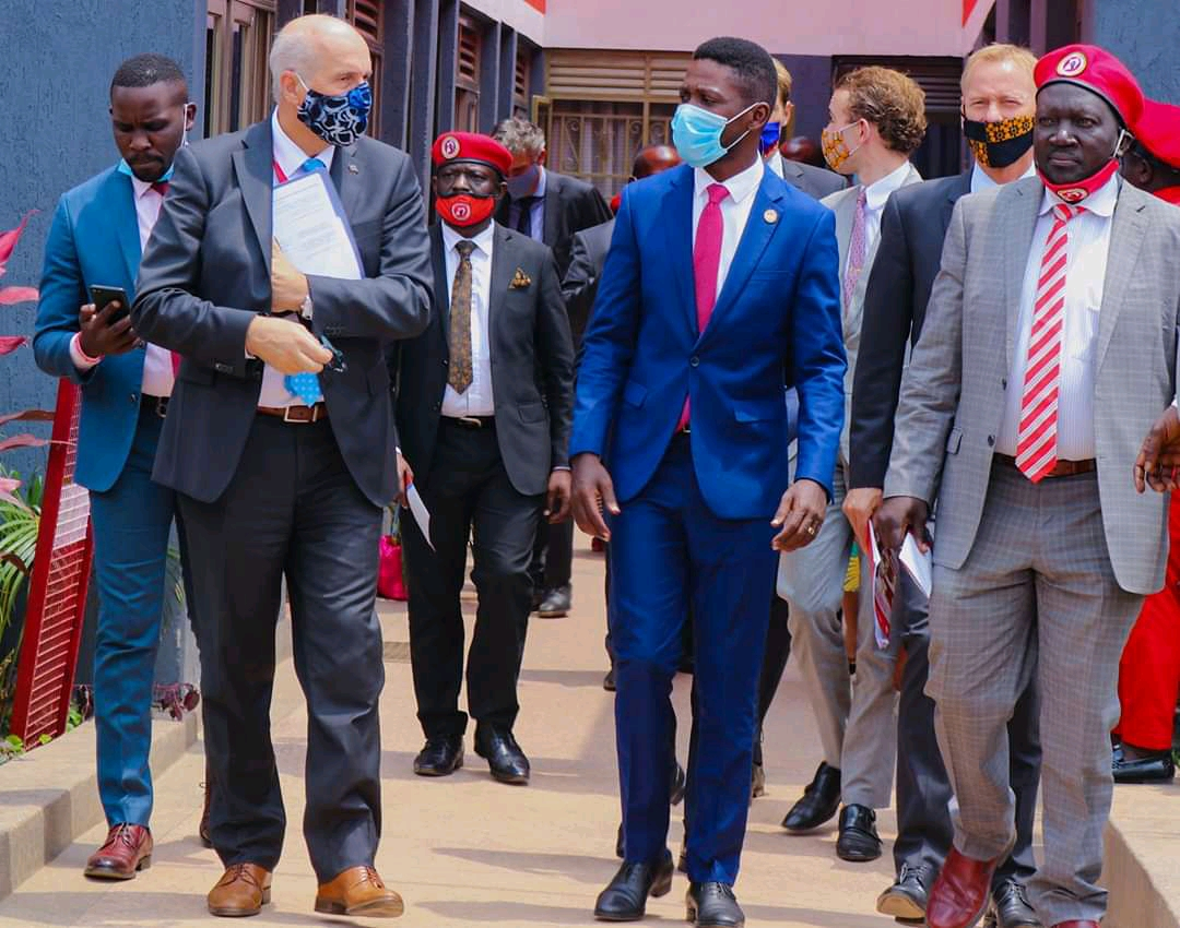 Ambassadors from the European Union welcomed by National Unity Platform Party President Robert Kyagulanyi at Party offices in Kamokya on Wednesday (PHOTO/Courtesy).