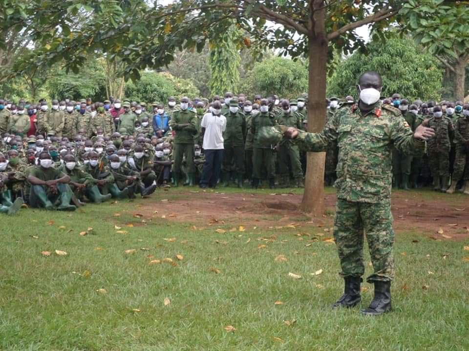 Lt Gen Peter Elwelu speaking to the UPDF soldiers before flagging them to Somalia (PHOTO/Courtesy).