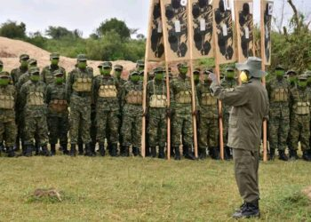 President Museveni inspecting the passed out recruits in Nakaseke (PHOTO/Courtesy).