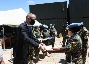 UPDF officers receiving medals from the United Nations Secretary General in Mogadishu (PHOTO/Courtesy).