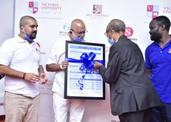 Businessman Sudhir Ruparelia at the launch of the Victoria University tuition fees policy (PHOTO/Courtesy)