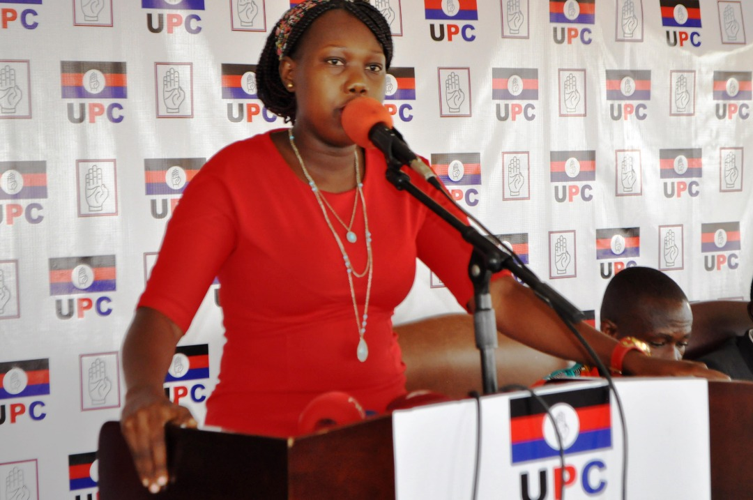 Hon. Sharon Oyat Arach the newly appointed Uganda People's Congress (UPC) Spokesperson addressing the press at the party headquarters, Uganda House, Kampala