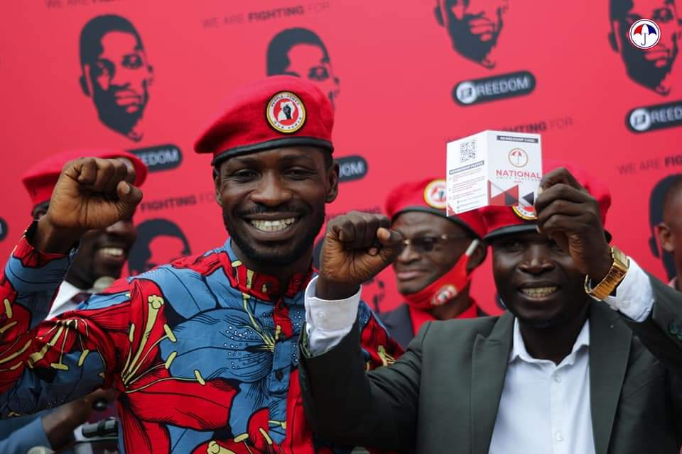 Singer Ronald Mayinja and Bobi Wine at NUP headquarters in Kamokya (PHOTO/Courtesy).