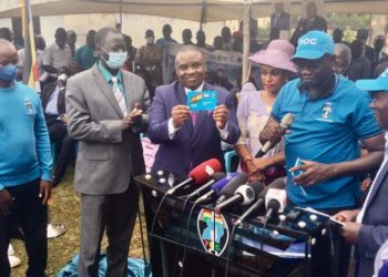 Lord Mayor Lukwago being unveiled as Forum for Democratic Change member recently (PHOTO/Courtesy)