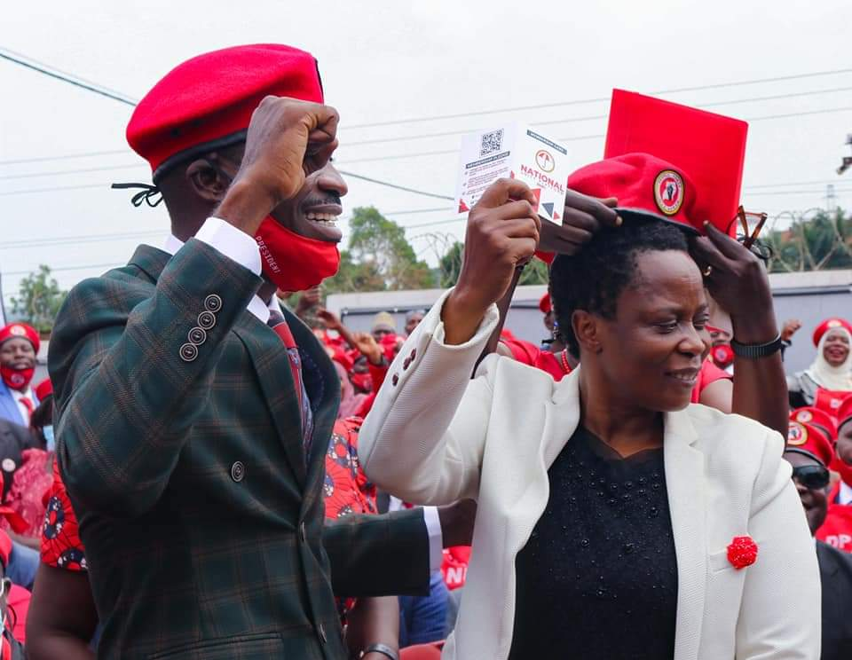People Power and National Unity Platform Party President Robert Kyagulanyi with Mukono municipality MP Betty Nambooze who recently crossed from Democratic Party (PHOTO/Courtesy).