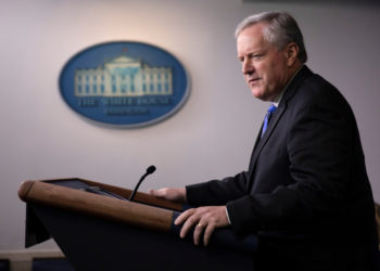 White House Chief of Staff Mark Meadows speaks to reporters during a news briefing at the White House in Washington, July 31, 2020. [Photo/Agencies]