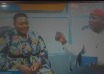Singer Catherine Kusasira and Events promoter Bajjo during a talk show at one of the local TV stations (PHOTO/Courtesy).