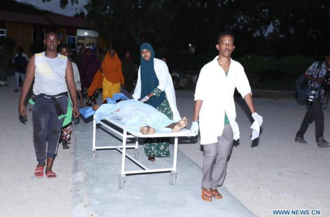 One of injured in blast at Mogadishu hotel being wheeled (PHOTO/Courtesy).