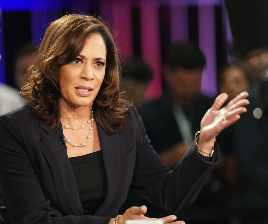 photo taken on June 27, 2019 shows Senator Kamala Harris of California being interviewed after the second night of the first Democratic primary debate in Miami, Florida, the United States. Former U.S. Vice President and presumptive Democratic nominee Joe Biden announced on Aug. 11, 2020 that he has picked Senator Kamala Harris of California as his running mate. (Xinhua/