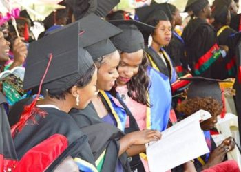 Graduands follow proceedings at the 68th Graduation held in January 2018