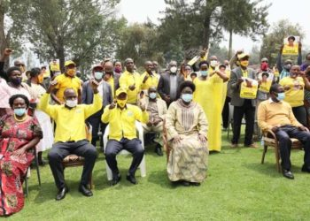 Speaker Rebecca Kadaga with NRM deligates in Kigezi on Friday