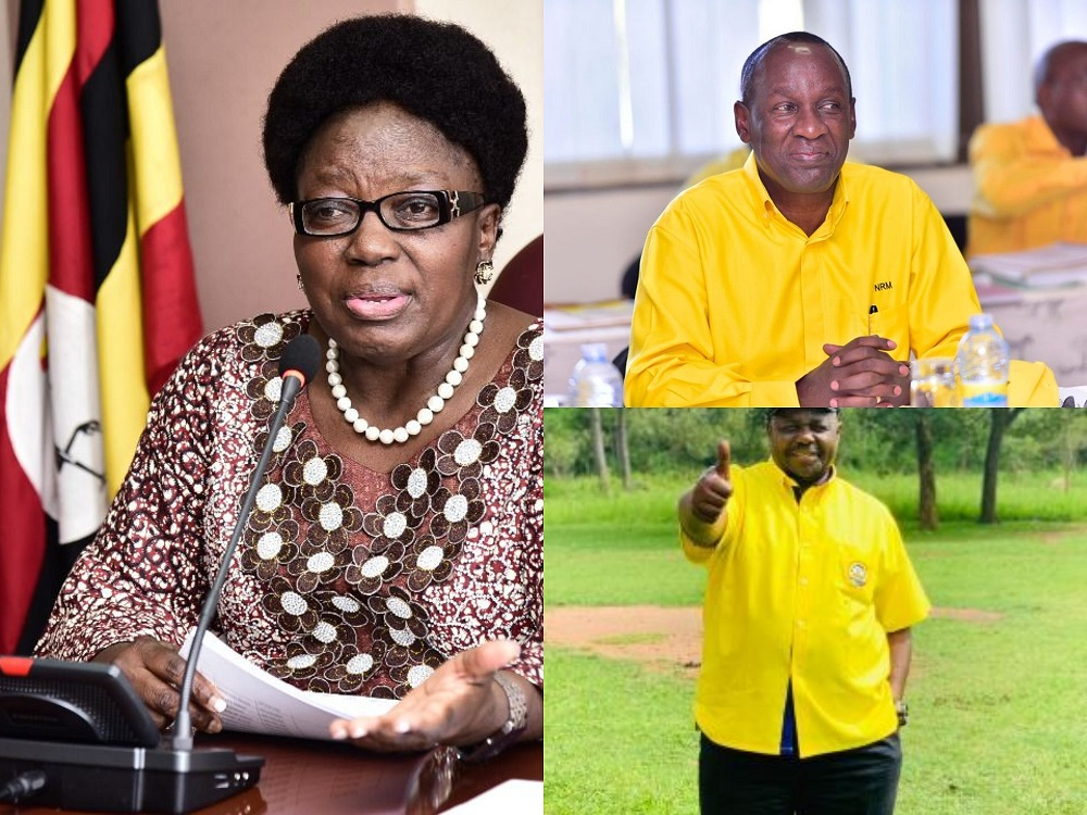 Some of the NRM CEC poll winners, Rebecca Kadaga (L), Mike Mukula (right upper) and Jacob Oulanya (right bottom).