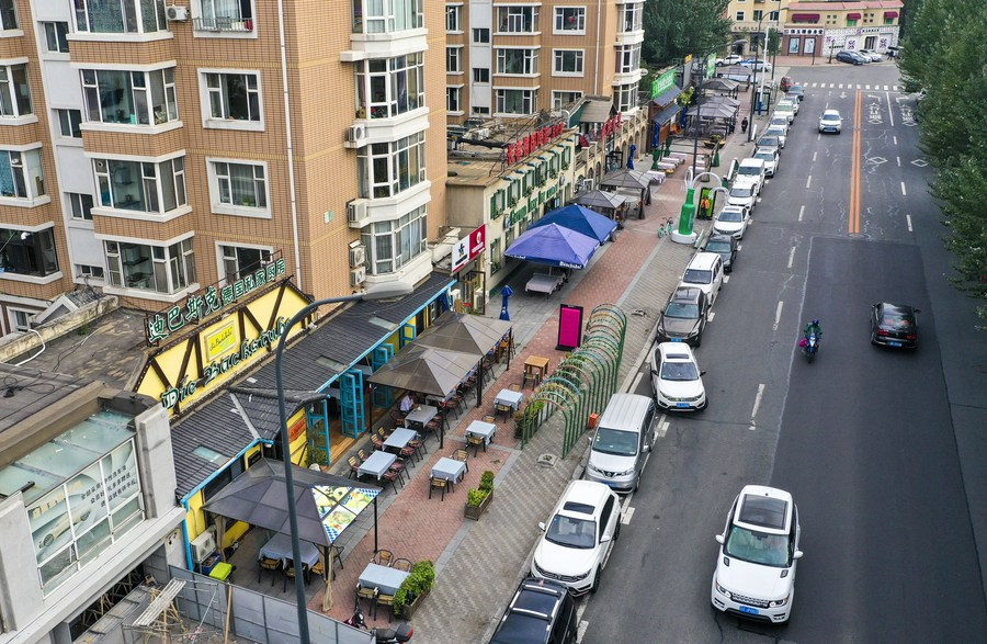 An aerial view of German restaurants on Caizhi Street in Changchun City, Jilin Province, Sept. 14, 2020. (Xinhua/Wang Haofei).