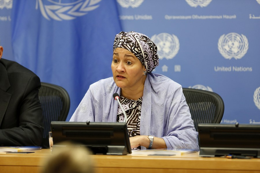 United Nations Deputy Secretary-General Amina Mohammed speaks during a press briefing on the 2019 Financing for Sustainable Development Report, at the UN headquarters in New York, April 4, 2019. (Xinhua/Li Muzi).
