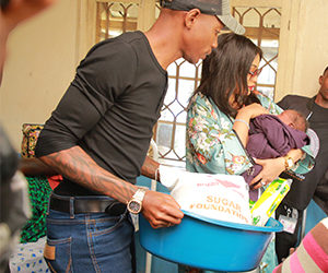 Bryan White distributing items through his Foundation (PHOTO/Courtesy).