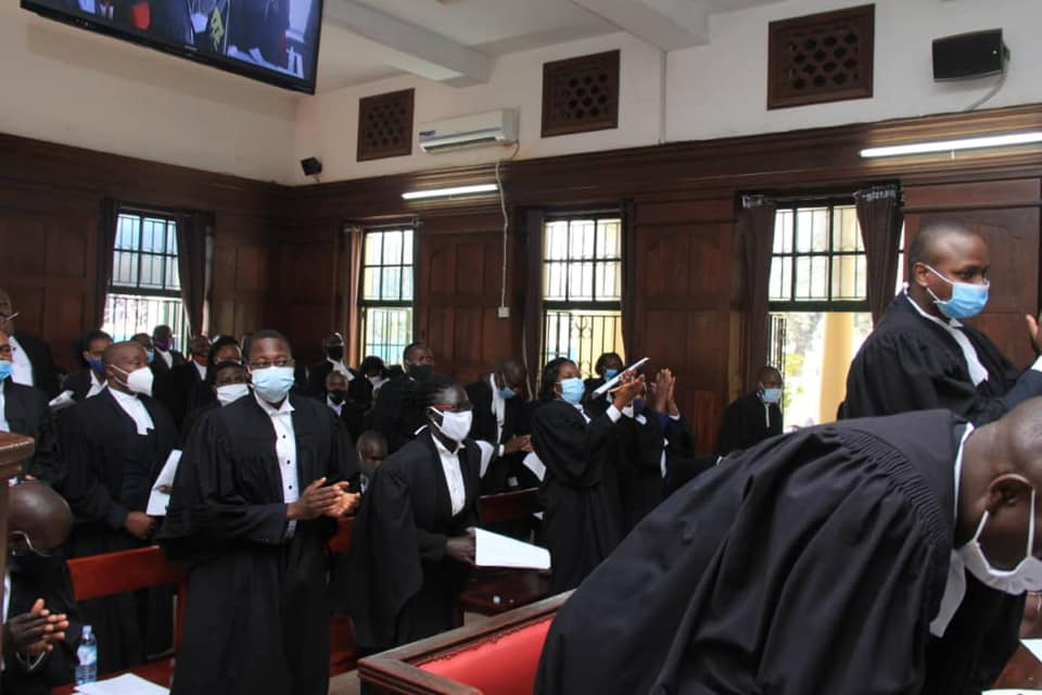 Some of the 133 lawyers enrolled as advocates at the Judiciary Headquarters in Kampala on Friday (PHOTO/Courtesy).