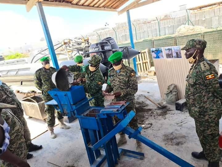 UPDF officer in Somalia has invented a brick making machine (PHOTO/Courtesy).