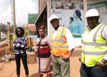 A team from NWSC Head Office headed by Director Engineering Services- Eng. Alex Gisagara visiting Nalya estate on Thursday (PHOTO/Courtesy).