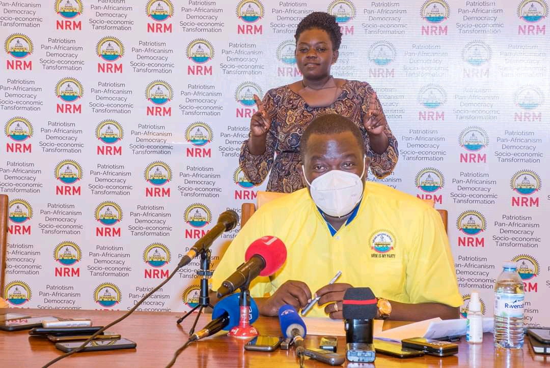 Richard Todwong, NRM Deputy Secretary General addressing the press regarding party Primaries (PHOTO/Courtesy).